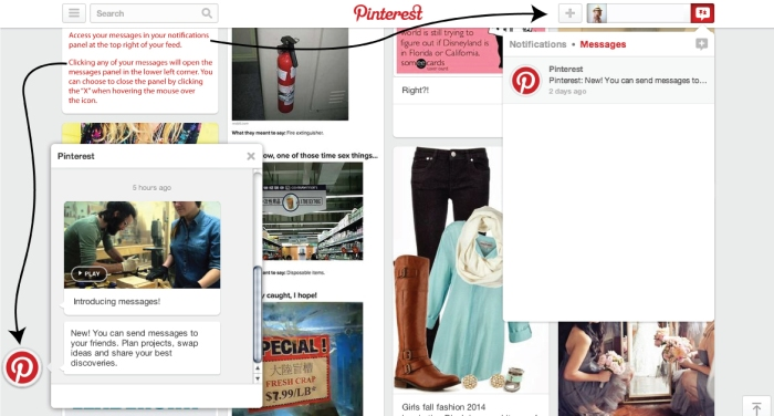 Pinterest adds messaging screenshot